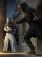 Templar vs Assassin by wraithdt