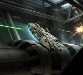 XWMG - Rey in Millennium Falcon by wraithdt
