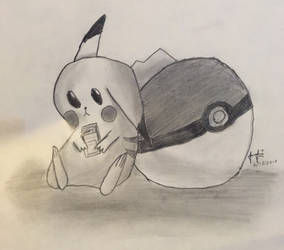 Pikachu Pencil Sketch by ZeldaGeek39