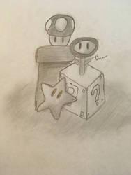 Mario Power Ups (Pencil Sketch) by ZeldaGeek39