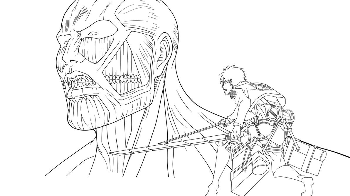 Eren y titan colosal by srmoro on deviantart for Attack on titan coloring pages