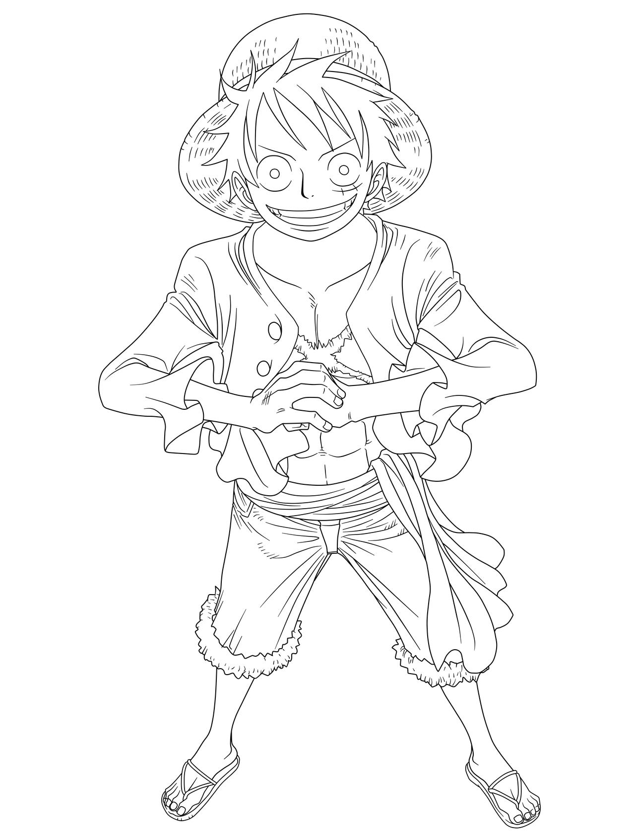 Luffy Lineart : Luffy lineart by srmoro on deviantart