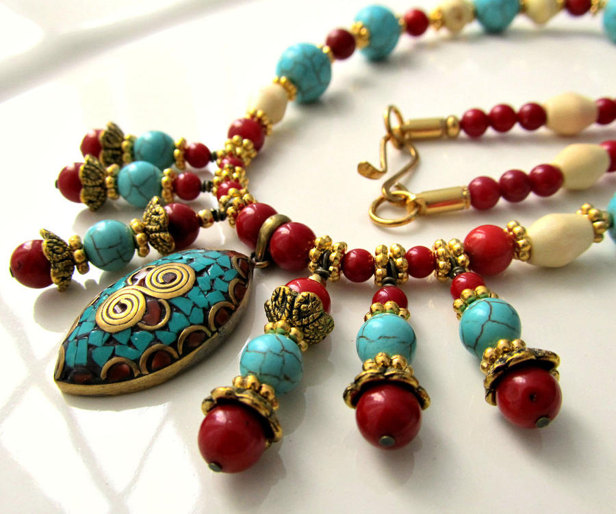 necklace turquoise i pin etsy at ethnic hey by awesome bead s bellaemyjewels found this really coral listing nepali