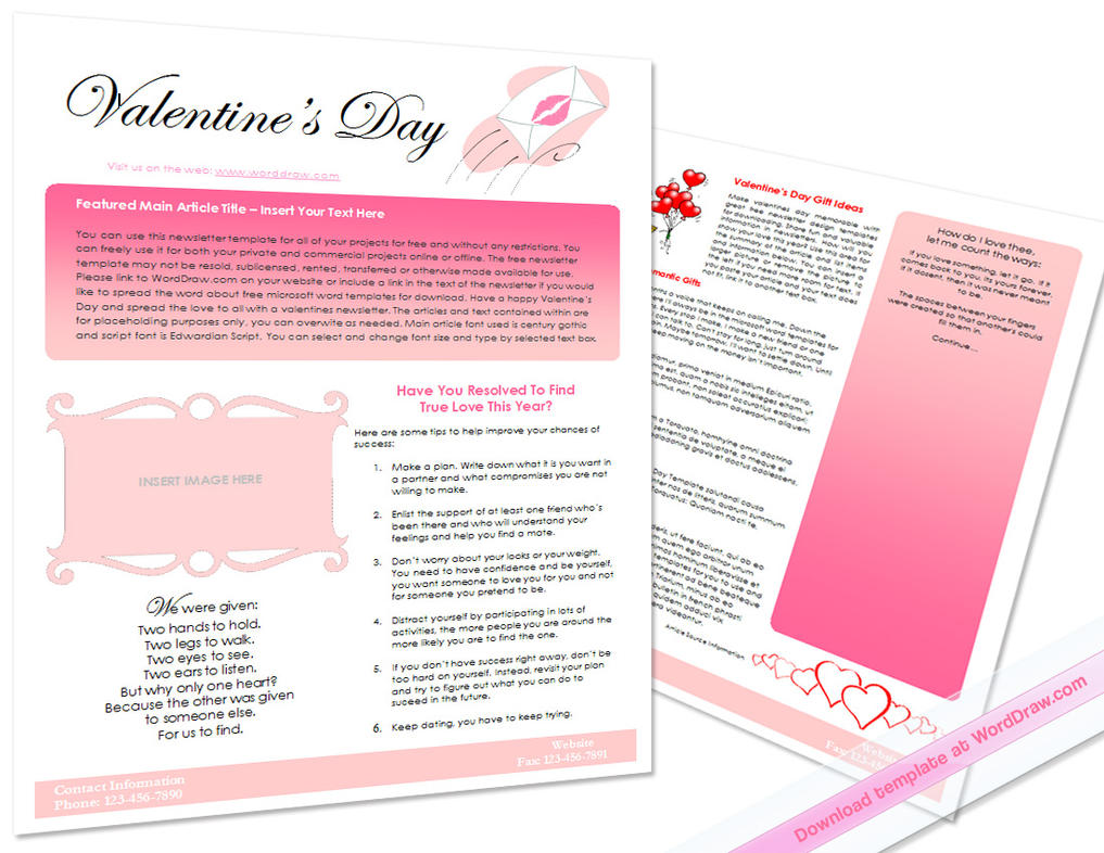 Valentine S Day Newsletter By Worddraw On Deviantart