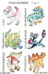 Dinovember Days 1-6 by Jackie-M-Illustrator