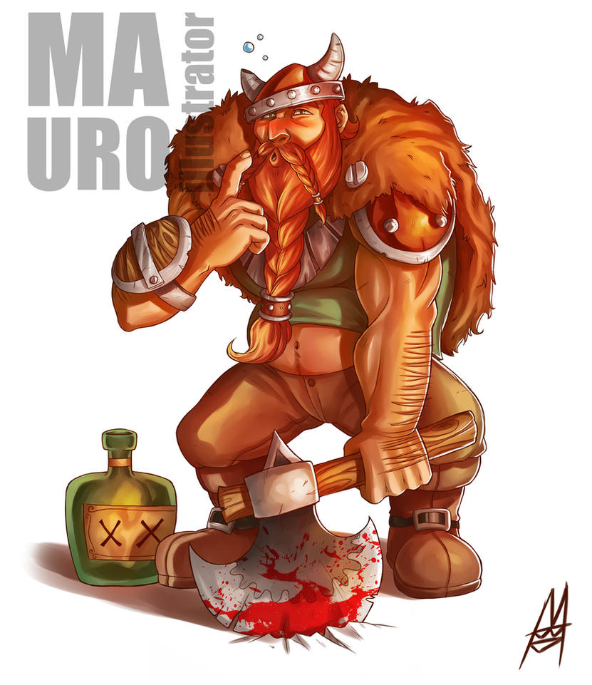 Drunk warrior by MauroIllustrator