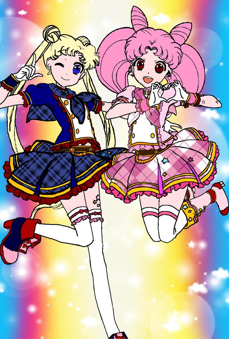 Usagi and Chibi Usa Aikatsu Style by MaddieHatter3337