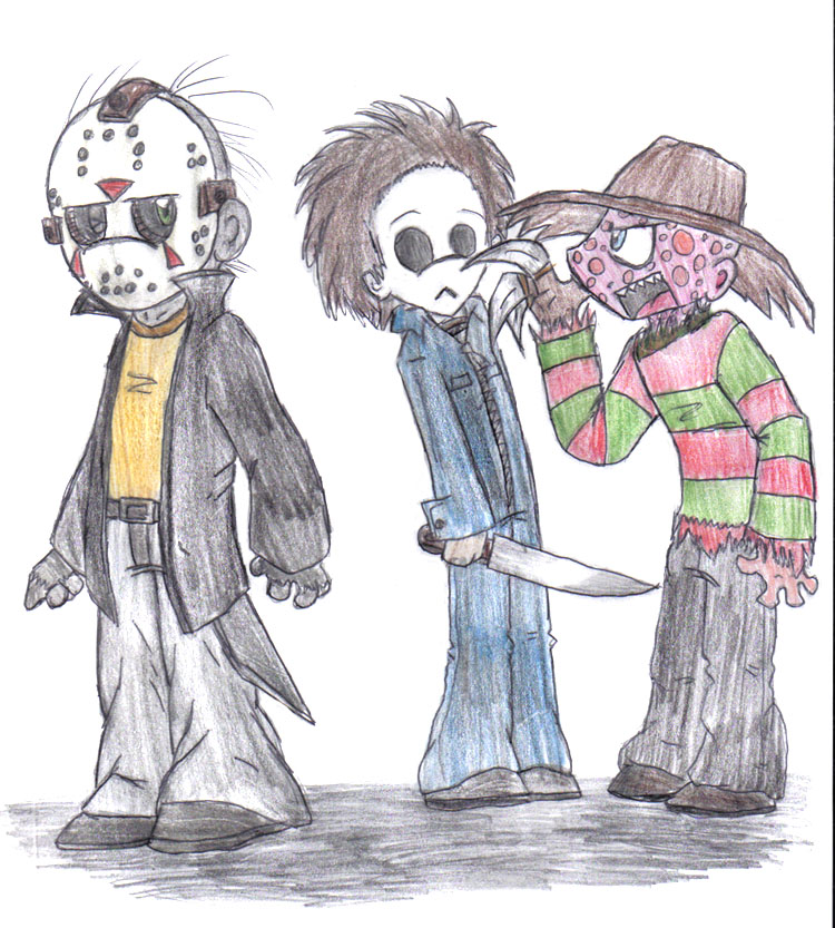 Jason, Michael and Freddy by xEvilxPenguinxNinjax