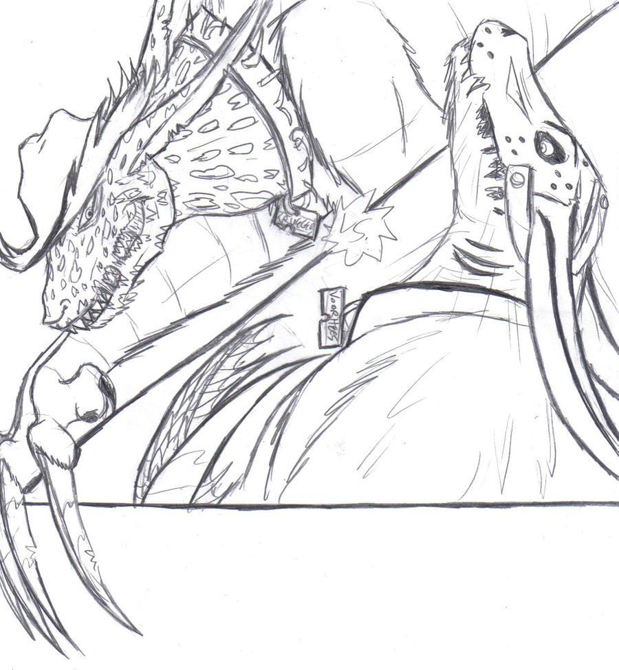 how to draw jason vs freddy