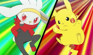 Raboot and PIKACHU Double Battle