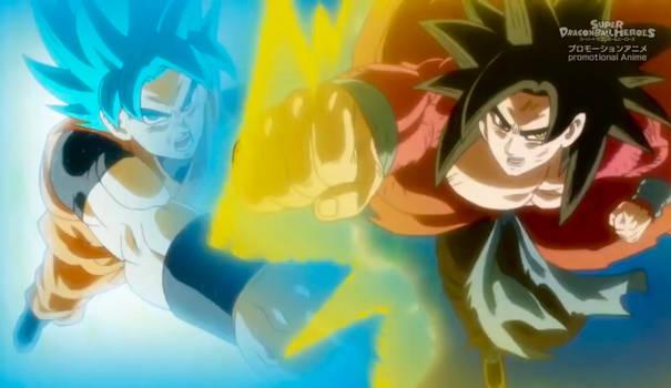 Goku Blue and Xeno Goku Both Punches Together