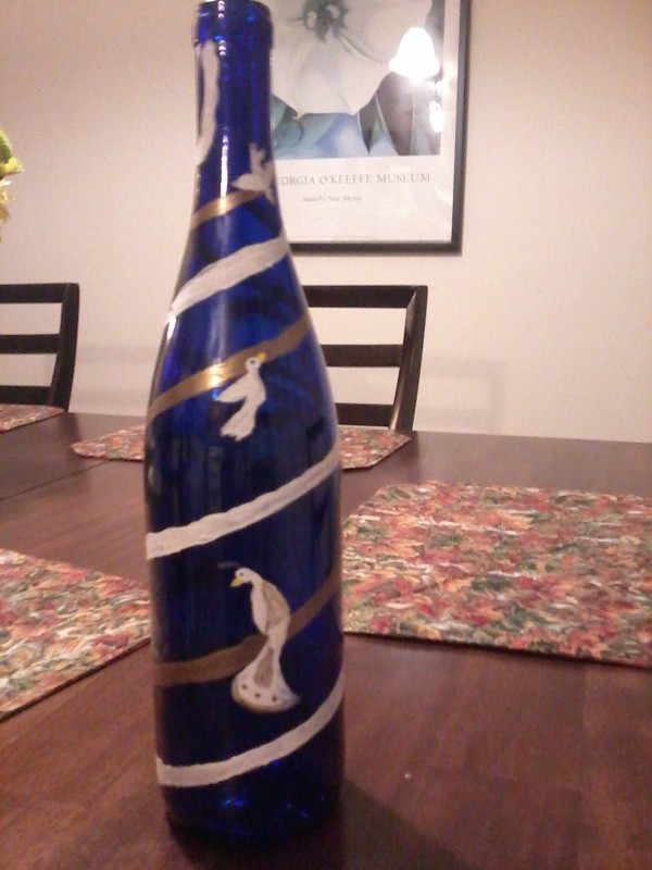 Painted Wine Bottle by KDlala