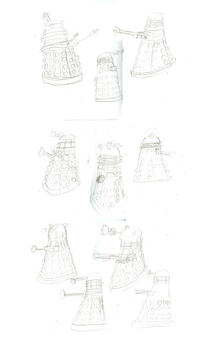 Dalek Drawings by WaggonerCartoons