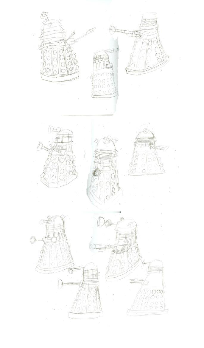 Dalek Drawings by WaggonerCartoons