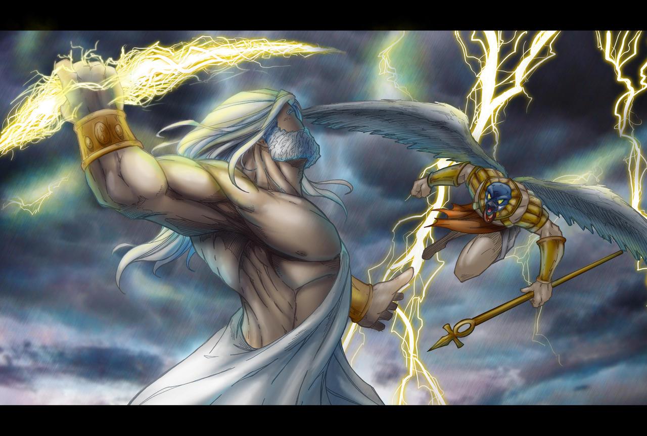 zeus vs horus by belgerles on DeviantArt