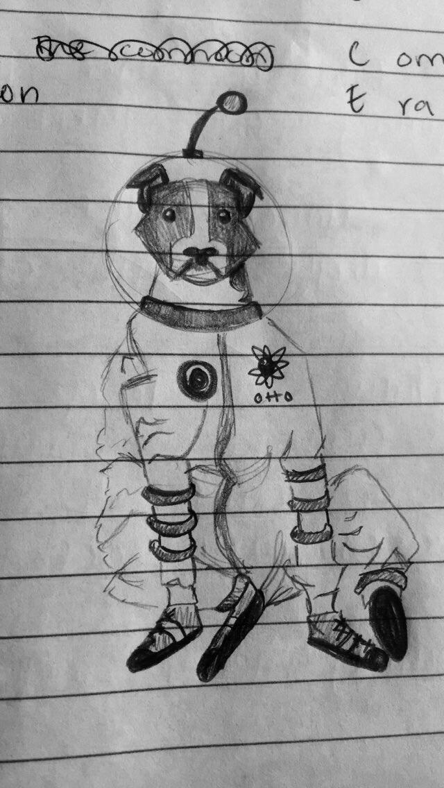 space dog sketch by littleredridinghood4