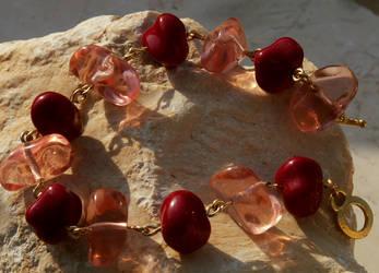 peach and corals bracelet by lizardsplay