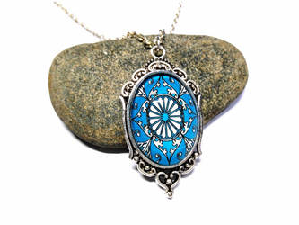 Turquoise compass rose - Silver Necklace + pendant by J-LE7