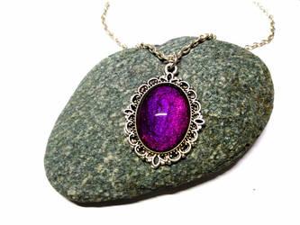Metallic violet - Silver Necklace + pendant by J-LE7