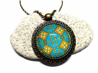 Aztec fabric pattern - Bronze Necklace + pendant by J-LE7