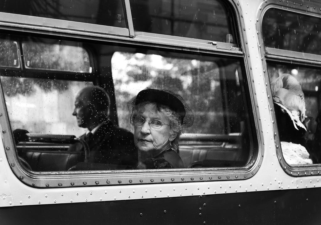 lady on bus by PhilJanssen
