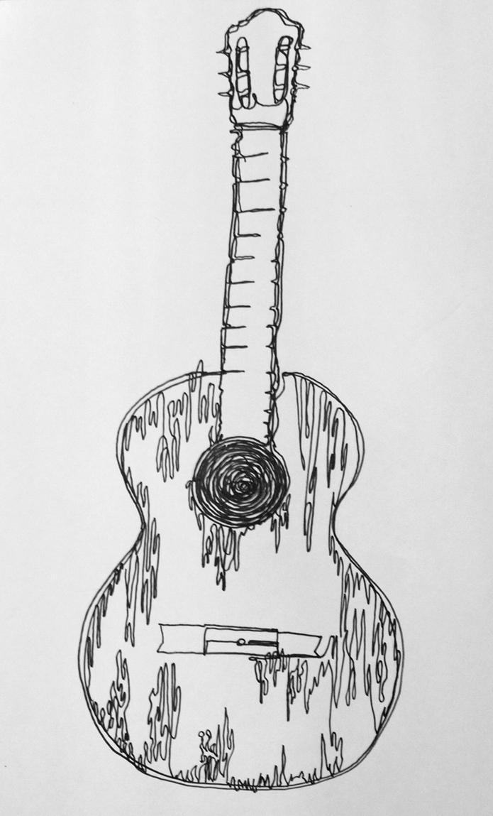 Line Drawing Guitar : One line drawing guitar by ourdancingdays on deviantart