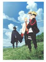 Naruto Hokage, Boruto and Sasuke by AiKawaiiChan