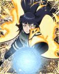Hinata con la capa de Chakra y Rasenga de Naruto