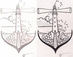 Commission - Lighthouse tattoo design
