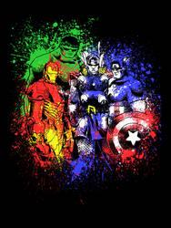 Avengers Inkblotted by artistjerrybennett