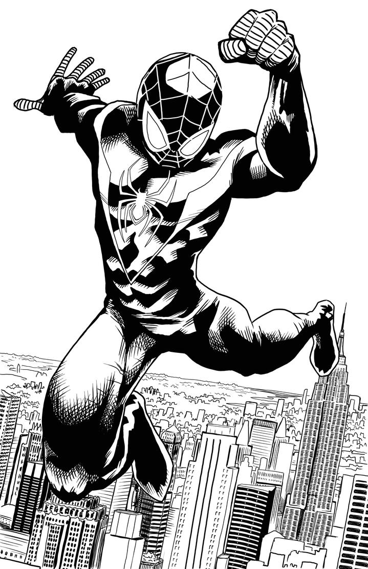 Ultimate Spider-Man Lineart by artistjerrybennettHow To Draw Ultimate Spider Man