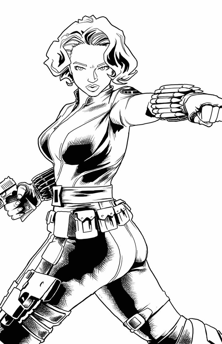 Download Avengers Coloring Pages Here Blackwidow: Black Widow Lineart By Artistjerrybennett On DeviantArt
