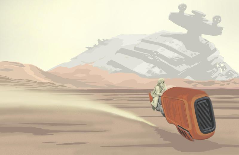 Star Wars Day- Rey on Jakku by artistjerrybennett