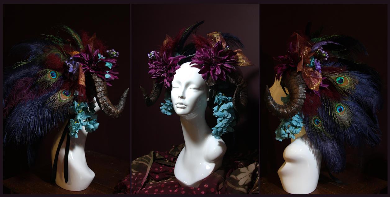 Crimson Peacock Ram Horn Headdress by JenniferWeiler