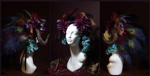 Crimson Peacock Ram Horn Headdress