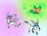 Shining Sylveon, Glaceon, and Leafeon Coloured