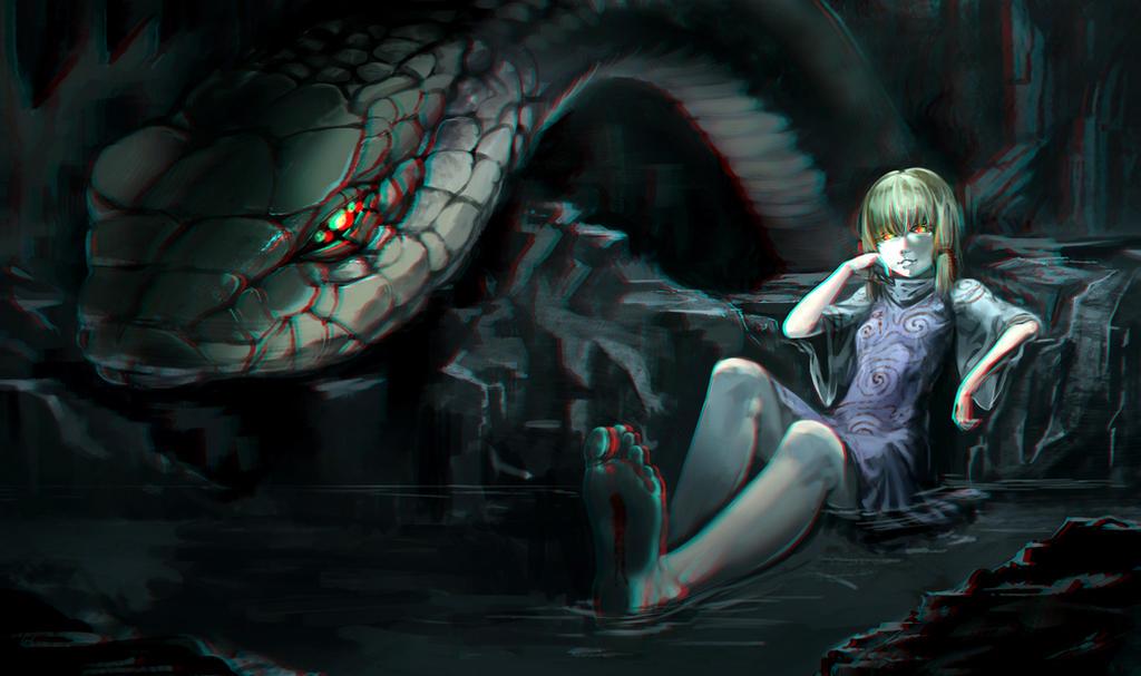 Moriya Suwako and snake 3-D conversion by MVRamsey