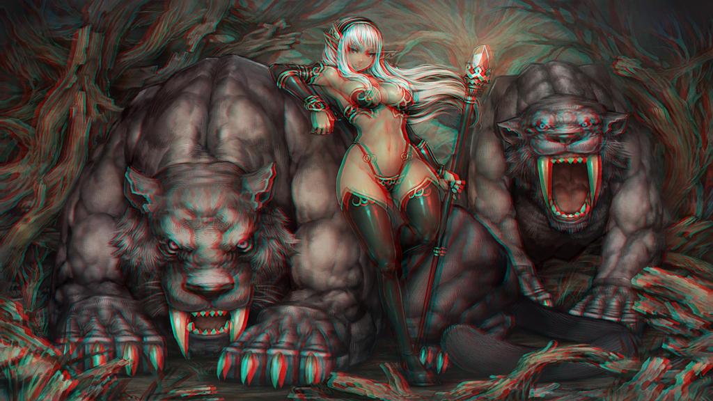 The Dark Elf Beastmaster 3-D conversion by MVRamsey