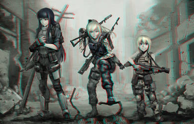 Anime Girls With Guns 3-D conversion by MVRamsey