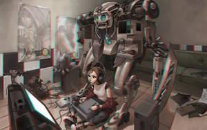 Cyberpunk Girl 3-D conversion by MVRamsey