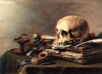 Skull and Books 3-D conversion by MVRamsey