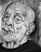 Old man smoking by Cleitus
