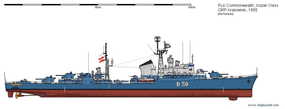 DD ORP Krakowiak 1955 by Herakleides