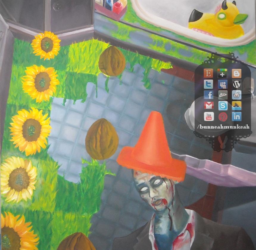 Plants VS Dexter Zombie Painting by Bunneahmunkeah