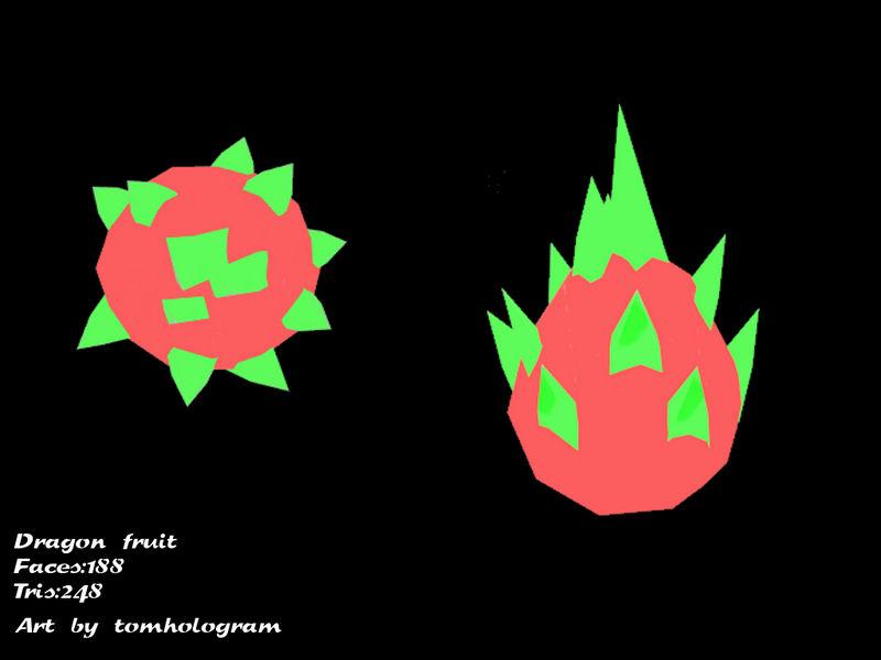 Low Poly Dragon fruit (Pitaya)