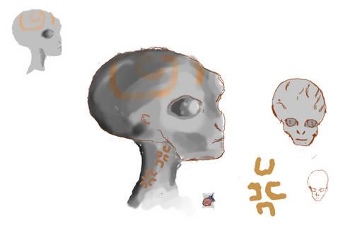 Sketchdump #25 Aliens head reference 1