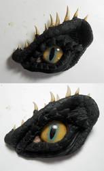 Black Dragon Eye Brooch by Caerban