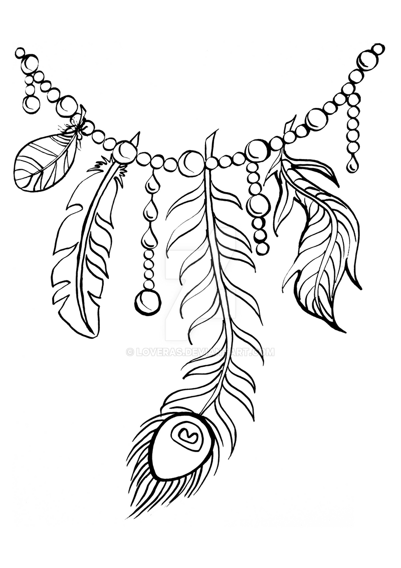 necklace coloring page - feather necklace by loveras on deviantart