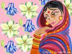 Hindu Woman Amongst Flowers