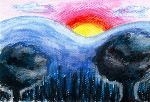 Colorful Sunset Landscape in Chalk Pastel